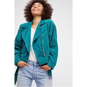 Free People Corduroy Teal Moto Jacket